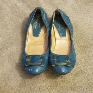Marc fisher blue patent rosa flats 8.5